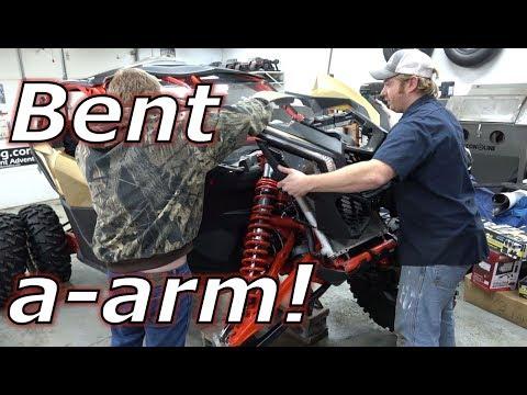 Replacing bent Maverick X3 XRS a-arms! 1 step hood removal!