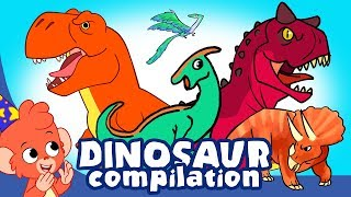 Learn Dinosaurs for Kids   Scary Dinosaur movie Compilation   t-rex Triceratops   Club Baboo