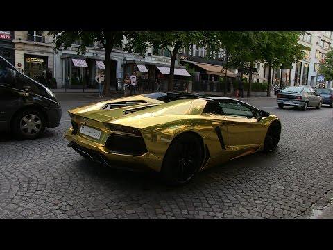 GOLD Saudi Lamborghini Aventador roadster in Paris