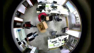 Cube 360 Panorama Action Camera Sample Footage(stick to the office roof)