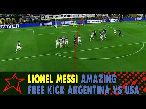 Lionel Messi Amazing Free kick - Argentina vs USA