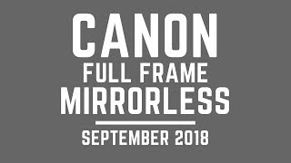 Canon FULL FRAME Mirrorless Announcement Sept 2018 (UNLESS Nikon Changes)