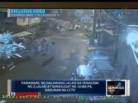 Pamamaril ng 2 lalaki sa Caloocan kung saan 2 lalaki ang patay at 10 ang sugatan, nakunan ng CCTV
