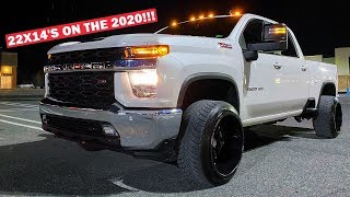MY STOCK 2020 DURAMAX ON 14 WIDES LOOKS INSANE!!! (New Truck is Already ILLEGAL LOL)