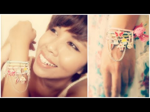 DIY Stacked Charm Bracelets Using Elastic Hair Bands Tutorial