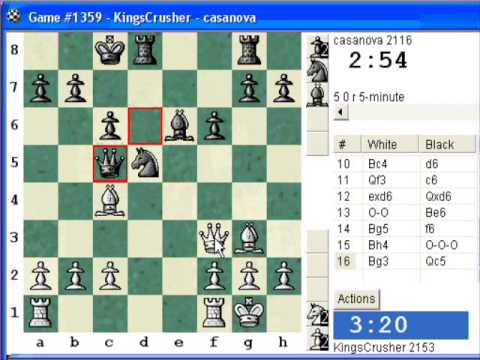 Chess World.net: Blitz #186 vs. casanova (2116) - Four knights: Schultze-Mueller gambit (C47)