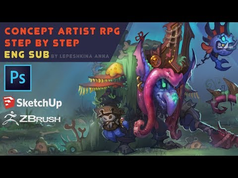 Concept artist RPG step by step ( eng sub )