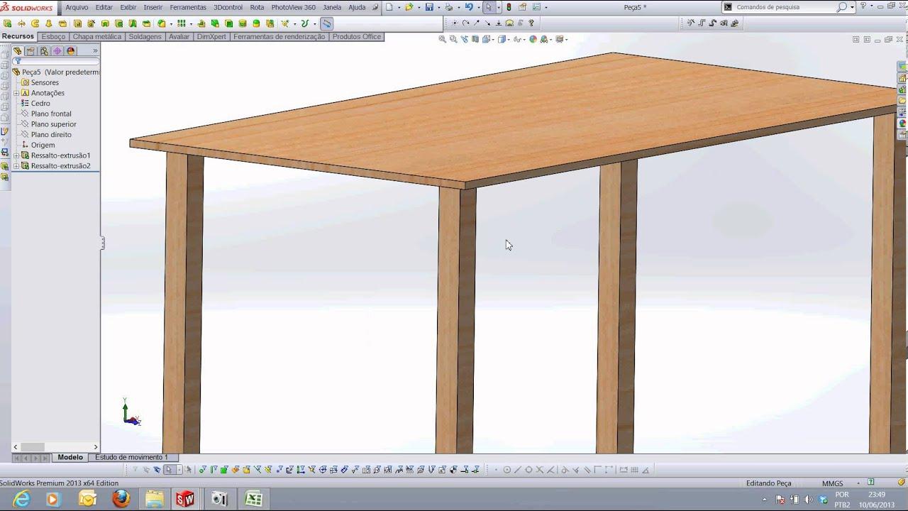 Como Desenhar uma Mesa de Madeira no SolidWorks Prof Vantuir Gomes  #966335 1916x1076