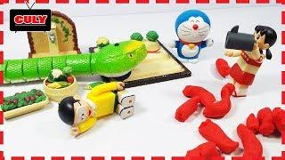 Doremon và Nobita bắt con rắn khổng lồ phá vườn rau của Xuka - Doraemon toy for kids đồ chơi trẻ em