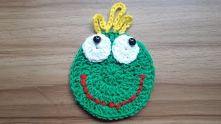 How to Crochet Green Funny Face Coaster