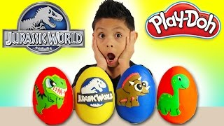 Jurassic World Play Doh Surprise Eggs T-Rex Chase Family Fun Kids Toys Disney Cars Opening Dinosaur