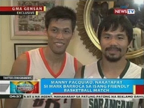 BP: Manny Pacquiao, nakatapat si Mark Barroca sa isang friendly basketball match