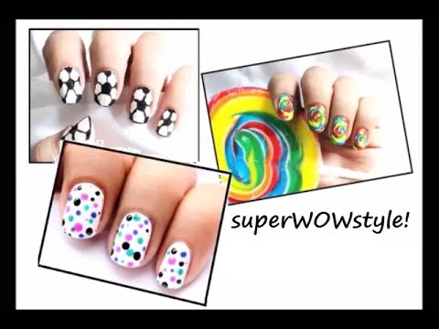 3 nail designs for kids! ❤ To do at home Youtube Easy do it step by step beginners art superWOWstyle