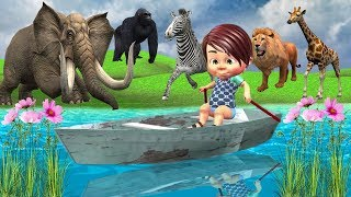 Learn Wild Animals Name & Sound With Funny Baby Row Row Row Your Boat Nursery Rhyme For Kids Songs