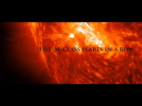 10/20/2014 -- FIVE M-class solar flares in a row -- Earth Facing Side of the Sun