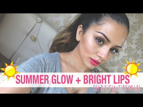 Talk Through Tutorial   Summer Glow + Bright Lips Makeup Look   Kaushal Beauty