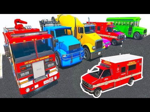 Police Car & Truck Parking l Learn Vehicles & Colors For Kids l Spiderman cartoon