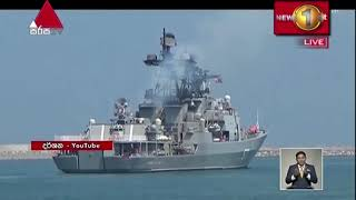 Two Russian warships and a service ship arrive at the Port of Hambantota