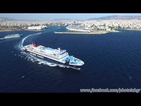 Aerial (drone) view - F/B Nissos Rodos leaving Piraeus port