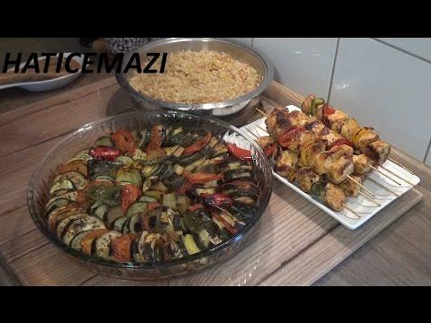 Tavuk Çöp Şiş - Firinda Sebze Dizmesi - Şehriyeli Bulgur Pilavı Tarifi Videosu