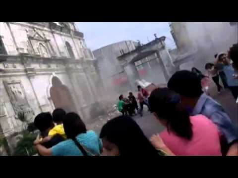 Philippines bell tower collapse caught on video