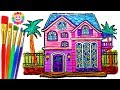 How To Draw A Doll House Coloring Page For Kid Drawing And Learn Colors