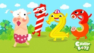123 Numbers Kids Video Cartoon Part 1/2 (Candybots) - Learn 1 to 10 Number for Kids