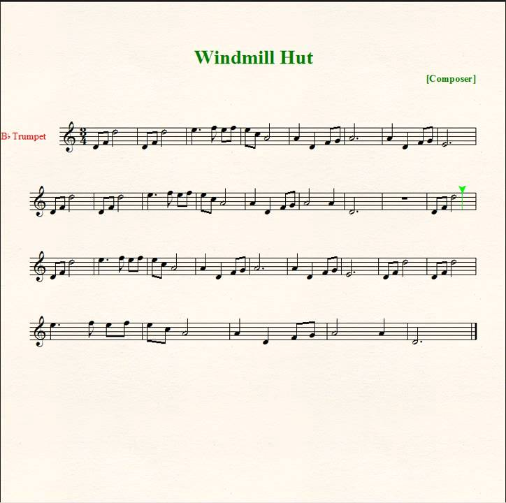 Windmill hut sheet music trumpet youtube