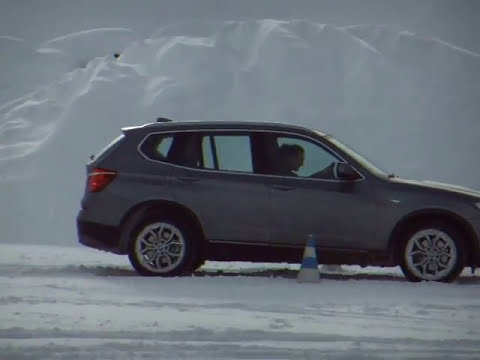 BMW X3 drifting on snow, Solden in Austria