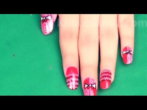 Cute Red Bow Nail Art By Khoobsurati.com