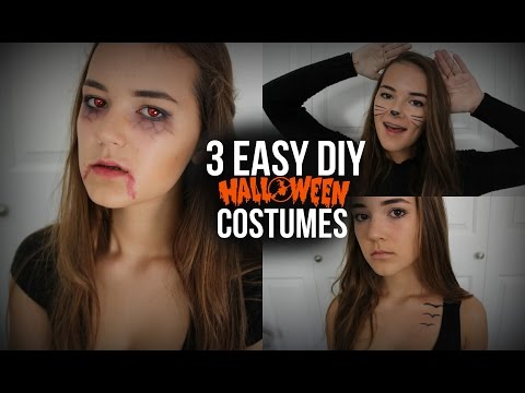 3 Easy DIY Halloween Costumes! (Cat, Vampire, & Tris Prior) | Reese Regan