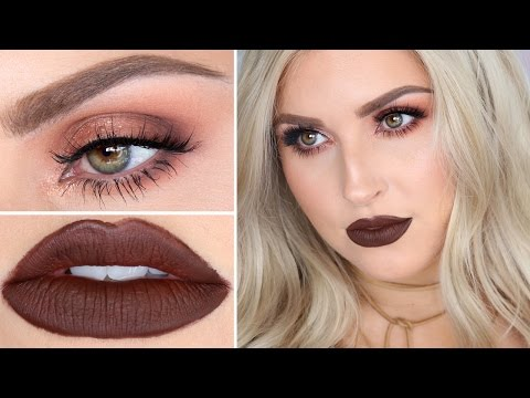 Brown Lipstick Makeup Tutorial ♡ Warm Brown Sultry Smokey Eye