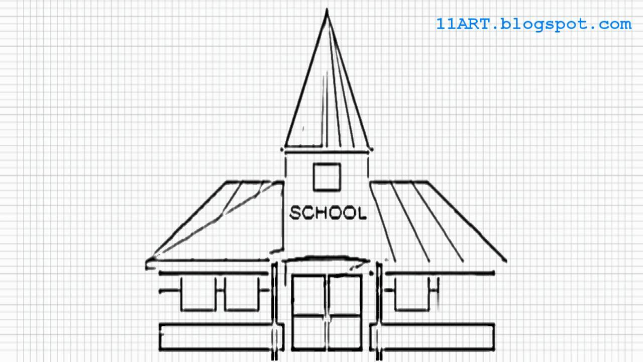 Basic School Drawing How to Draw a School Easy