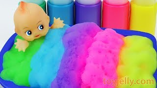 Baby Doll Color Foam Bubble Bath Time Kinder Suprise Eggs Learn Colors Baby Finger Song for Children