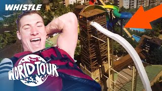 World's TALLEST Water Slide Trick Shot | Freestyle Soccer In Brazil
