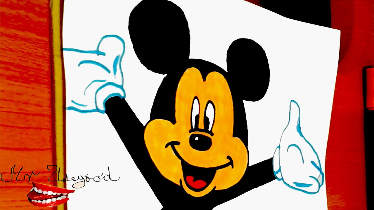How to draw old fashioned mickey mouse step by