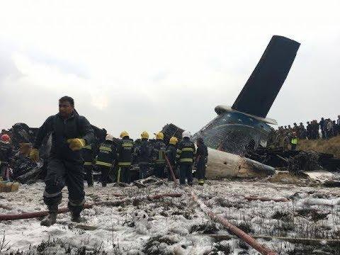 US Bangla airlines crashes at TIA Kathmandu