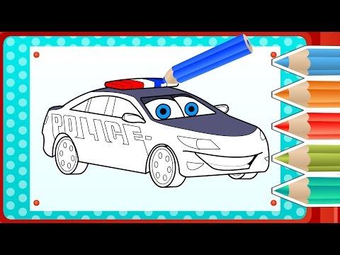 COLOREAR COCHE DE POLICÍA ? Gameplay Divertido De Color y Dibujo | App Interactiva y Divertido