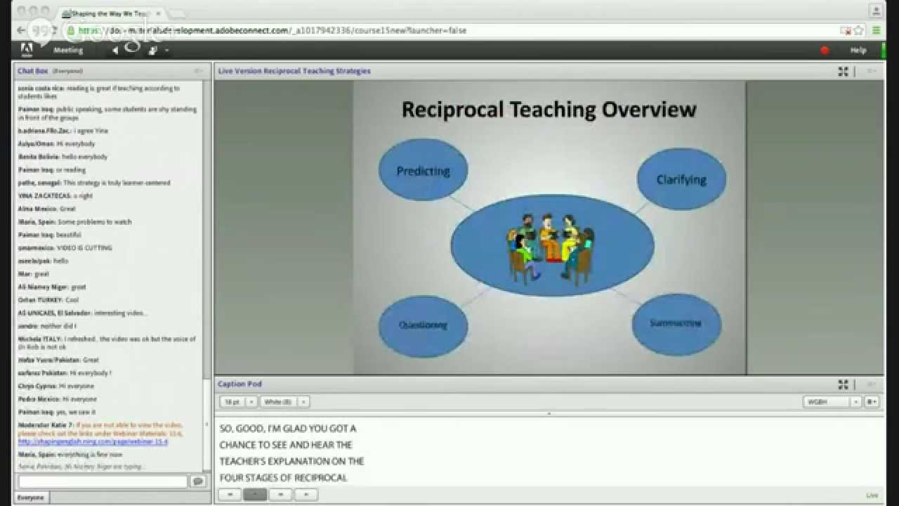 reciprocal teaching Teacher suzanne herko describes how she teaches her humanities students about the strategies and structures of reciprocal teaching watch students discuss literature in small groups while playing the role of discussion leader, summarizer, questioner, or predictor.
