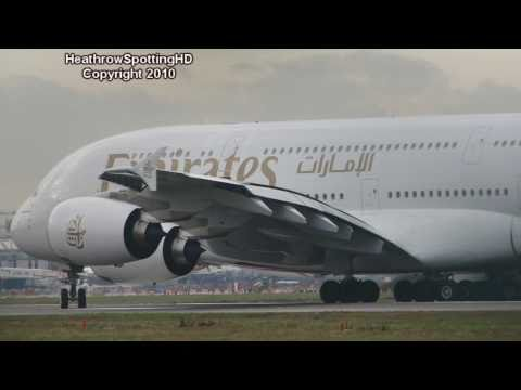 Emirates A380-861 Taxi + Departure | 27L EGLL |