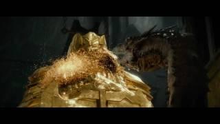 Golden Statue Dwarf  and Dragon scene