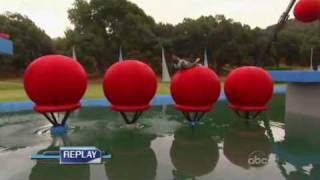 tv show wipeout insane cool flip on big balls