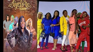 Funny! Funke Akindele With Her Aiyetoro Town Gals At Step Out In Multi-colour Dress At The Premiere