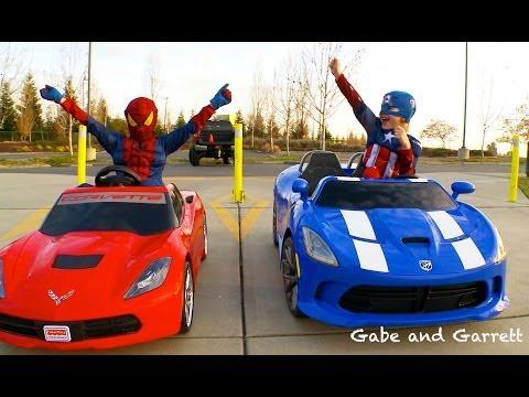 Power Wheels Racing - Spiderman vs Captain America Full Race HD!