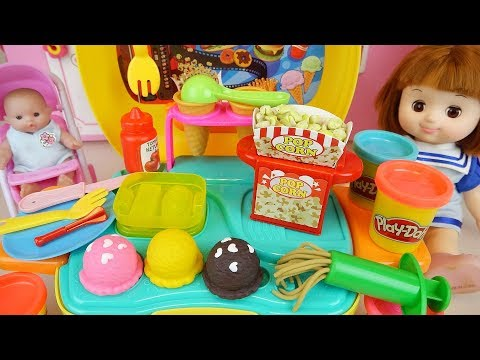 Play doh and baby doll kitchen cooking toys play