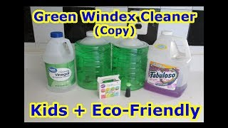 DIY How To Make - GREEN WINDEX - Cleaner - COPY - Vinegar Glass Disinfectant Kid + Eco-Friendly