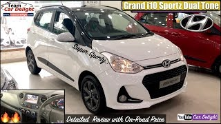 Grand i10 Sportz Dual Tone White Colour Detailed Review with On Road Price