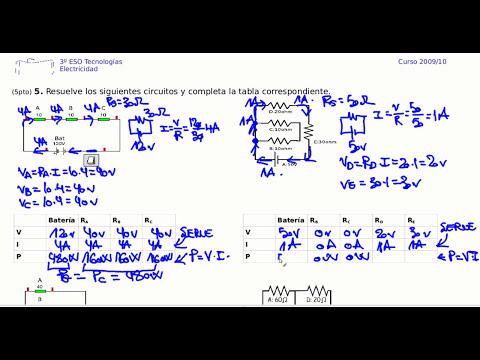 Electricidad ejercicio resuelto circuito serie 3 resistencias
