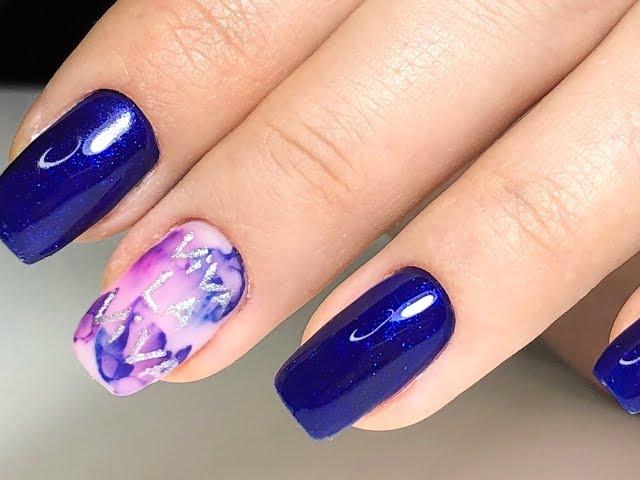 Маникюр на клиенте. Надписи на ногтях. Акварельная техника в дизайне ногтей. Маникюр 2019
