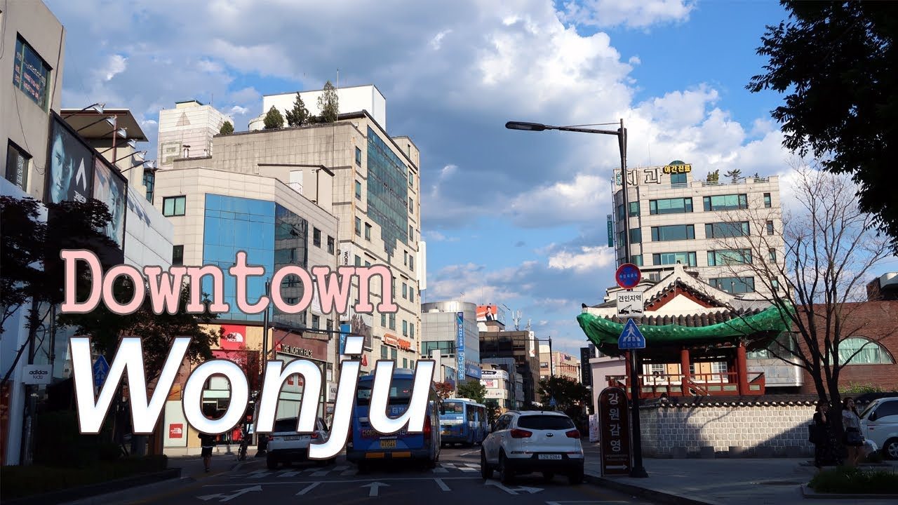 Driving Downtown Wonju Si The Most Populous City In